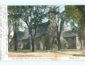 Pre-1907 CLARK BUILDING AND CHURCH Rome New York NY n6472