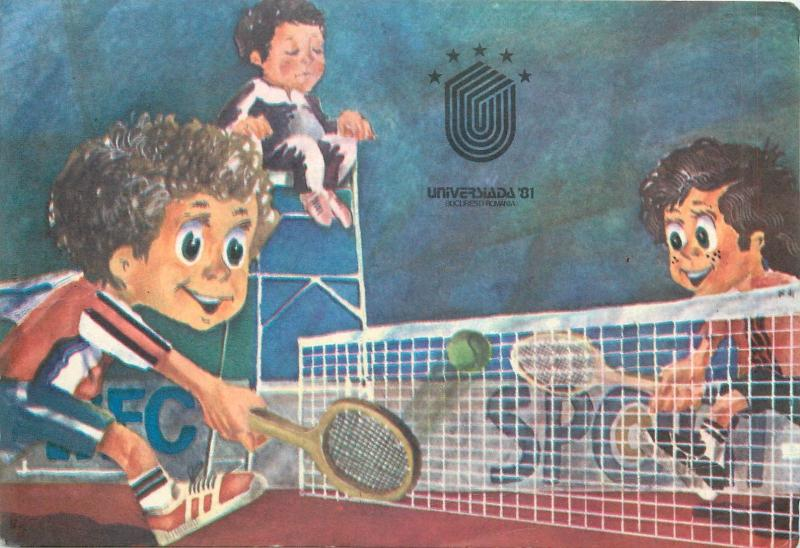 Tennis sport caricatures postcard Romania Universiada 1981