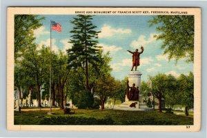 Frederick MD-Maryland, Grave & Monument Of Francis Scott Key, Linen Postcard