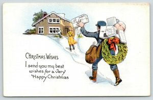 Christmas~Woman Runs Out House to Meet Mailman~Waves Package~c1920 Postcard