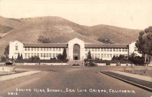 San Luis Obispo CA~Art Deco High School Building Before Mountains! RPPC c1920