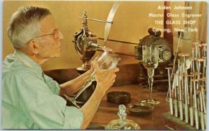 Vintage Corning, New York Postcard Alden Johnson Master Glass Engraver c1950s