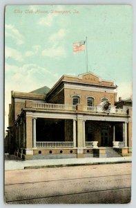 Davenport Iowa~Elks Club House~Head Mount Clock Over Front Steps~1909 Postcard
