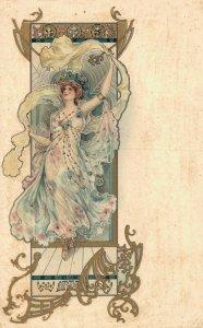 Artist Signed Eva Daniell Art Nouveau Woman 05.16
