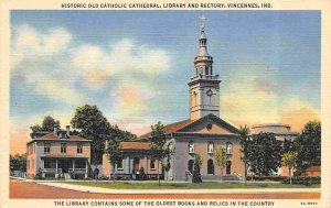 Catholic Cathedral Library Rectory Vincennes Indiana linen postcard