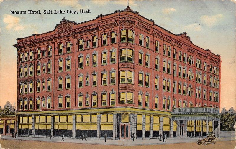 Salt Lake City~10 People in Front of Moxum Hotel at Sunrise~Demolished c1910 PC