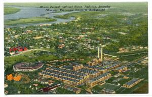Illinois Central Railroad Shops Paducah Kentucky linen postcard