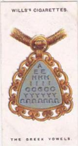 Wills Cigarette Card Lucky Charms No 22 The Seven Greek Vowels