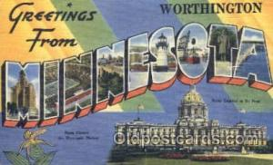 Greetings From Worthington, Minnesota, USA Large Letter Town Towns Postcard P...