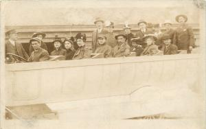 Real Photo Postcard~Driver, Golfer's Cap~Victorian Europeans in Touring Car~1913