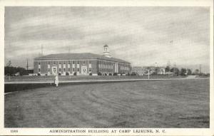Camp Lejeune, N.C., Administration Building (1940s) WWII Postcard No. 1908