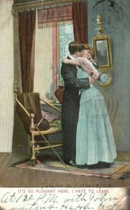 Vintage Postcard 1907 It's so Pleasant Here. I Hate to Leave Man & Woman Kissing