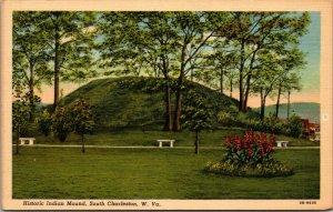 South Charleston WV Historic Indian Mound Linen West Virginia POSTCARD