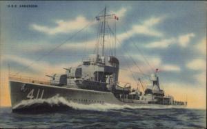 US Navy WWII Era USS Anderson #411 Used Platoon 290 Norfolk VA Postcard