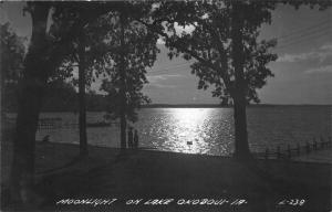 Okoboji Iowa~Lake View @ Night~People on Shore~Moonlight on Water~1940s RPPC