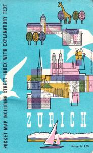 Zurich Switzerland Pocket Map 1962