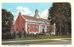 Lonview Washington Public Library Street View Antique Postcard K15009