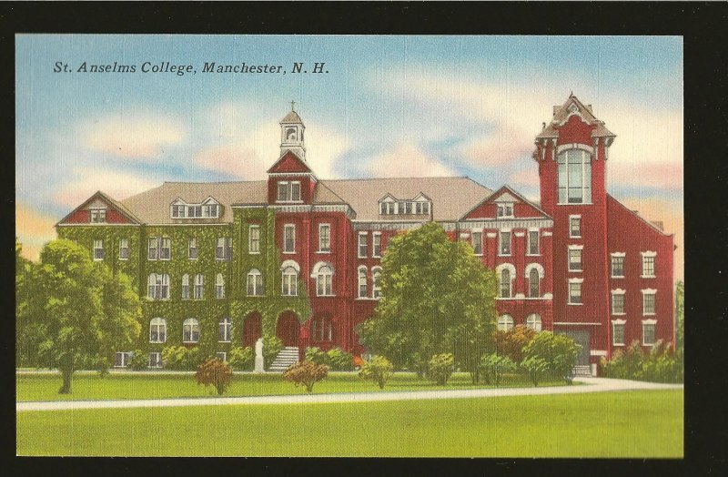 USA St. Anselms College Manchester New Hampshire Linen Postcard