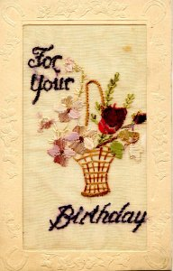 Greeting - Birthday. Embroidered Tuck Series R712