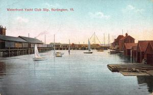 Waterfront Yacht Club Slip, Burlington, Vermont, Early Postcard, Used in 1909