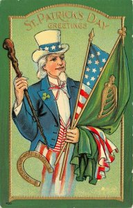 LP40   St Patrick's Day Postcard Irish Ireland Holiday Postcard Uncle Sam Flags