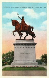 Vintage Postcard 1937 Statue of Saint Louis Forest Park St. Louis MO Missouri