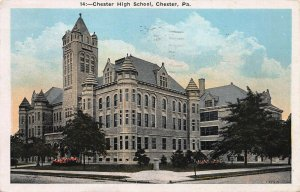 Chester High School, Chester, Pennsylvania, Early Postcard, Used in 1931