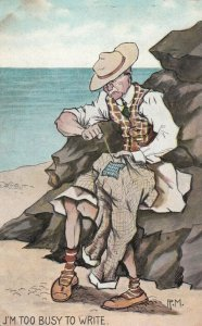 AS: U'M Too Busy To Write, Old man mending his pants at the beach, 1900-10s