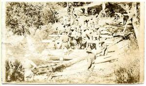 Military - Soldiers Building a Log Bridge  WWII  *RPPC