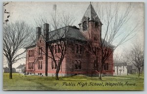 Wapello Iowa~Public High School~Homes Back Behind~Fire Escape~1913 Postcard