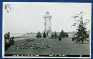 Fond Du Lac Wisconsin wi Lakeside Park Real Photo Postcard RPPC #2