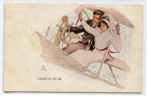 Castles In The Air Romantic Couple Airplane Artist A Toniolo PCK 1911 postcard