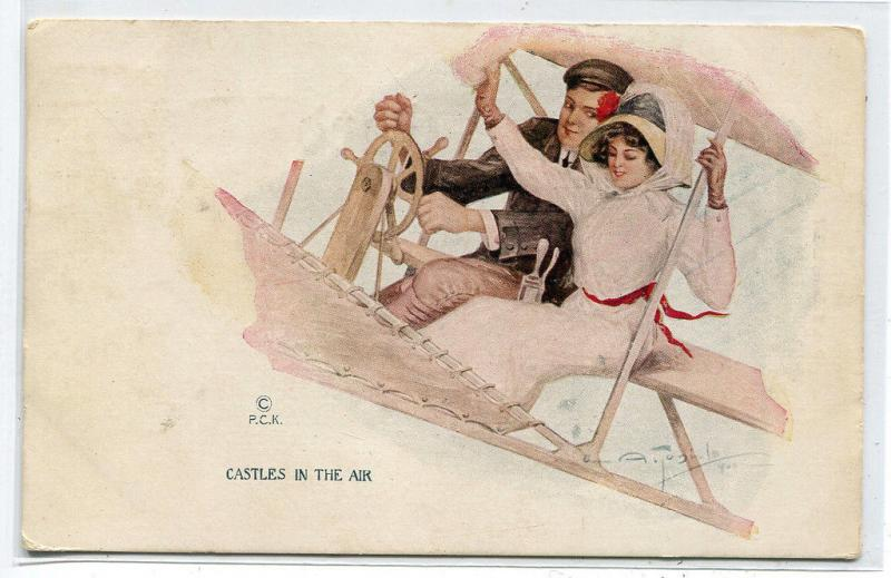 Castles In The Air Romantic Couple Airplane Artist A Toniolo PCK 1911 postcard