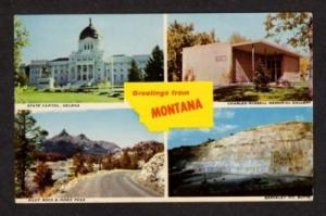 MT Greetings from MONTANA State Map Multi View Postcard