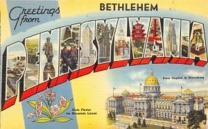 Bethlehem Pennsylvania~Harrisburg Capitol~1940s Large Letter Linen Postcard