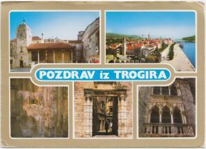 POZDRAV iz TROGIRA, Croatia, unused Postcard