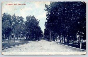 Chanute Kansas~South Highland Avenue Homes~Blue Sky 1908 Fred Harvey Postcard