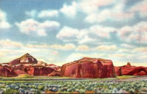 New Mexico Gallup Pyramid Red Rocks and Navajo Church Curteich