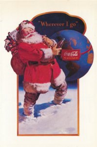 Coca Cola - Sant Claus - Wherever I Go - 1992 Postcard and attached Coupons