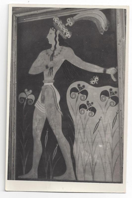 RPPC Greece Knossos Crete Minoan Art Prince of Lilies Fresco