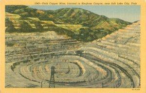 Bingham Canyon Copper Mine Salt Lake City, UT Linen Postcard