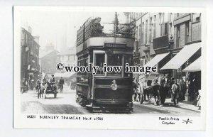 pp1923 - Burnley Tramcar No.4, c1905 - Pamlin postcard