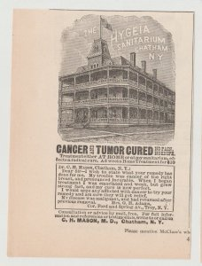 Hygeia Sanitarium, Chatham NY Antique 1800s Print Ad, Cancer Cure