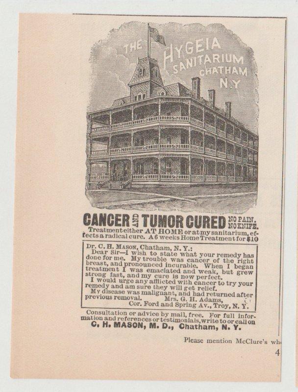 Hygeia Sanitarium, Chatham NY Antique 1800s Print Ad, Cancer Cure