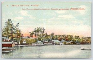 Webster Massachusetts~Beacon Park Boat Landing~Boats Docked~c1910