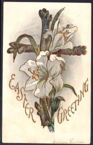 Easter Greetings,Lilies,Cross