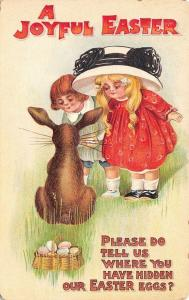 BB London Easter~Lil Girl Boy Looking~Fat Bunny Rabbit Hides Eggs Behind~Emboss