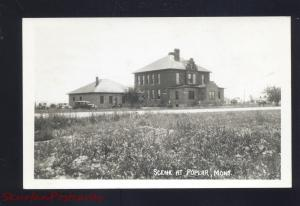 RPPC POPLAR MONTANA SCHOOL BUILDING OLD CARS REAL PHOTO POSTCARD VINTAGE