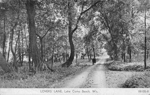 Lake Como Beach Wisconsin~Lovers' Lane~Couple on Dirt Road~1938 B&W CR Childs