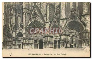 Old Postcard Bourges Cathedrale Five Gates